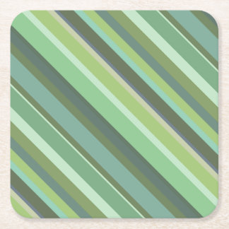 Olive green diagonal stripes square paper coaster