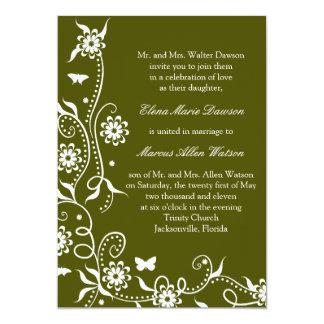 Olive Green Floral Swirl Wedding Invitation