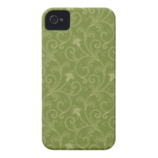 Olive green floral swirls elegant blackberry bold iPhone 4 Case-Mate cases