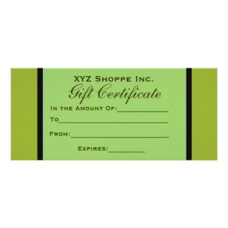 Olive Green Gift Certificate Full Color Rack Card