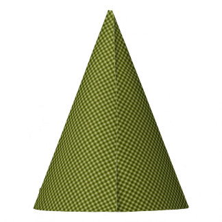 Olive Green Gingham-PAPER PARTY HATS