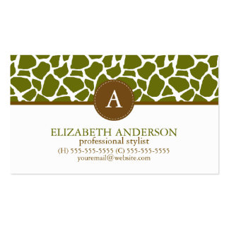 Olive Green Giraffe Pattern Monogram Pack Of Standard Business Cards