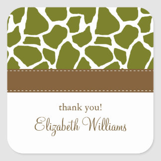 Olive Green Giraffe Pattern Square Sticker