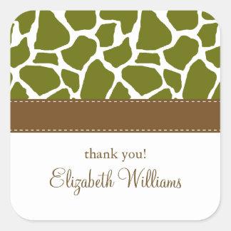 Olive Green Giraffe Pattern Square Sticker