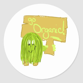 Olive Green Go Organic Classic Round Sticker