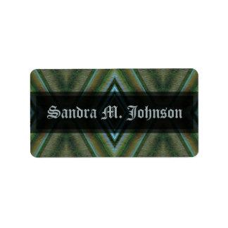 Olive green grey address label