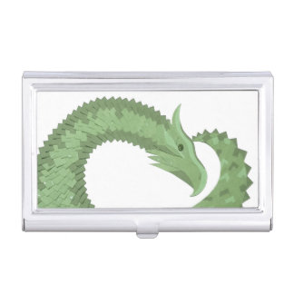 Olive green heart dragon on white business card holder