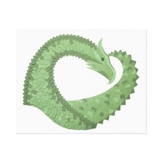 Olive green heart dragon on white canvas print