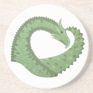 Olive green heart dragon on white coaster