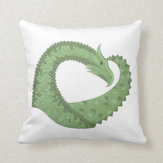Olive green heart dragon on white cushion