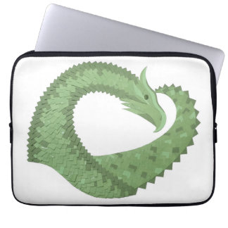 Olive green heart dragon on white laptop sleeve