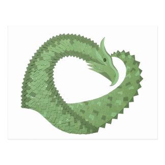 Olive green heart dragon on white postcard