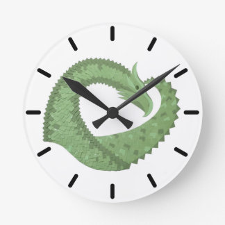Olive green heart dragon on white round clock