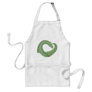 Olive green heart dragon on white standard apron