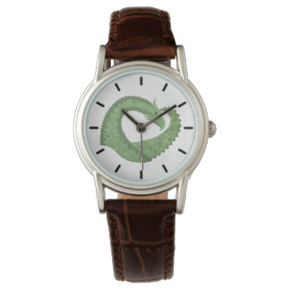 Olive green heart dragon on white watch