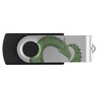 Olive green heart dragon USB flash drive