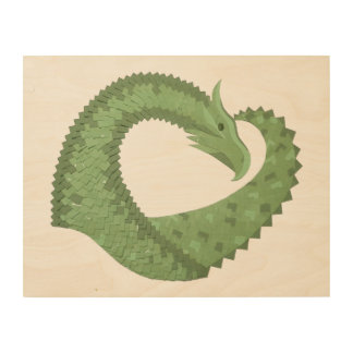Olive green heart dragon wood print