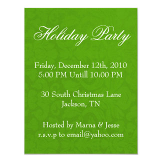 "Olive Green Holiday Party Invites 4.25"" X 5.5"" Invitation Card"