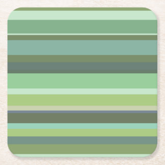 Olive green horizontal stripes square paper coaster