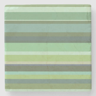 Olive green horizontal stripes stone coaster