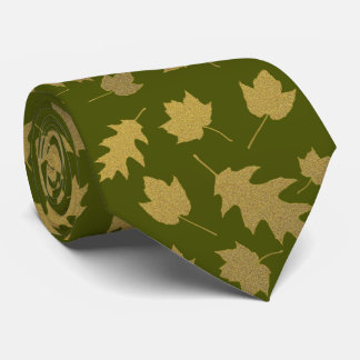 Olive Green Leaf Pattern Mens Tie