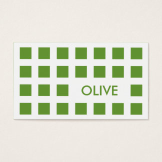 olive green (mod squares) business card