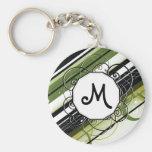 Olive Green Modern-Retro Stripes with Monogram