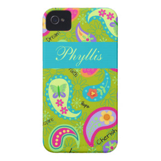 Olive Green Modern Trendy Paisley Personalized iPhone 4 Case