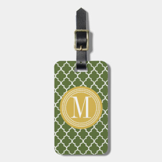 Olive Green Moroccan Lattice Personalized Luggage Tag