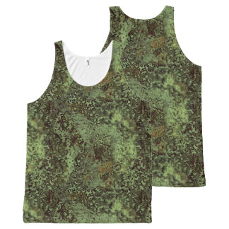Olive Green Painterly Abstract All Over T-Shirt All-Over Print Tank Top