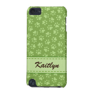 Olive green paw print pattern iPod Touch case