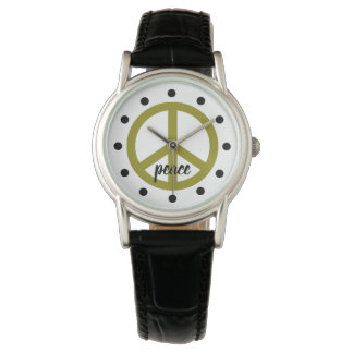 Olive Green Peace Symbol Personalized Watch
