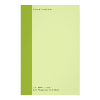 Olive green personalised stationery