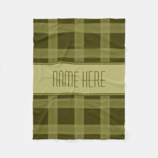 Olive Green Plaid   Custom Name Fleece Blanket