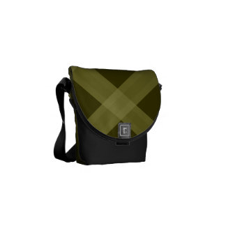 Olive Green Plaid Pattern Bag Commuter Bags