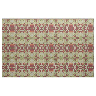Olive Green Red Orange Ochre Brown Ethnic Look Fabric