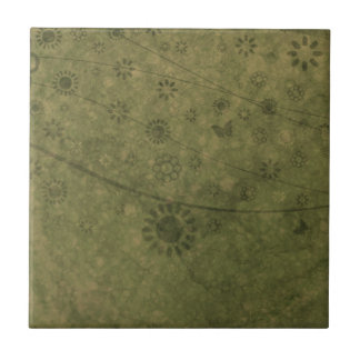 Olive Green Retro Flowers and Butterflies Abstract Tile