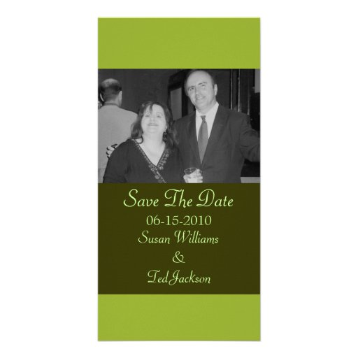 Olive Green Save the Date Personalized Photo Card