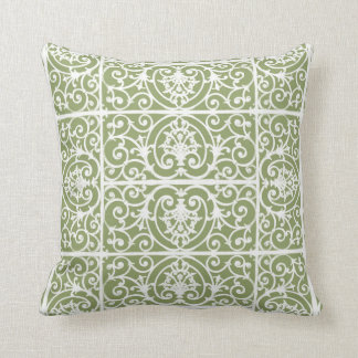 Olive green scrollwork pattern throw pillow
