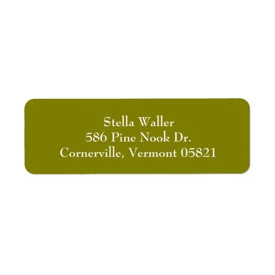 Olive Green Simple Plain Return Address Labels