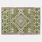 Olive Green Southwest Aztec Geometric Pattern Throw Blanket