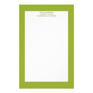 Olive green stationery design