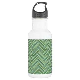 Olive green stripes double weave 532 ml water bottle