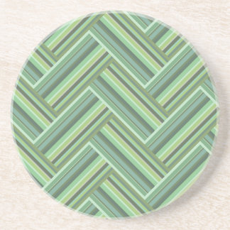 Olive green stripes double weave coaster