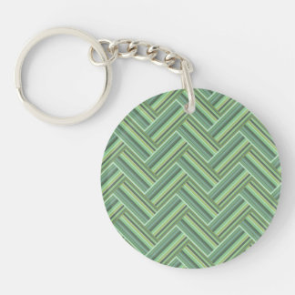 Olive green stripes double weave key ring