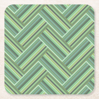 Olive green stripes double weave square paper coaster