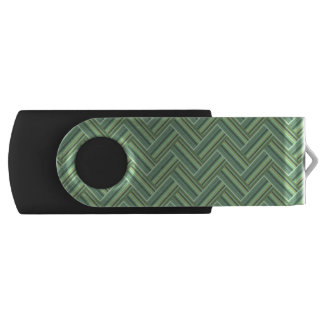 Olive green stripes double weave USB flash drive