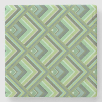 Olive green stripes scale pattern stone coaster