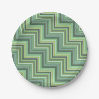 Olive green stripes stairs pattern 7 inch paper plate