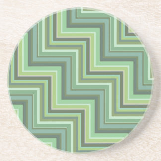 Olive green stripes stairs pattern coaster